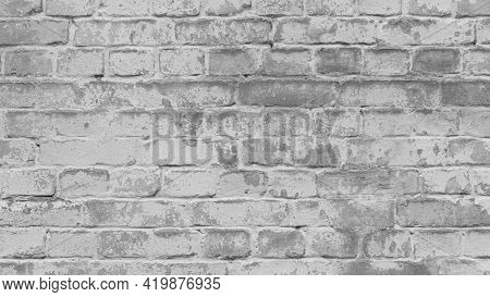 Abstract Old White Brick Wall. Background Facade Brick Wall Black And White. Vintage Old Brick Wall