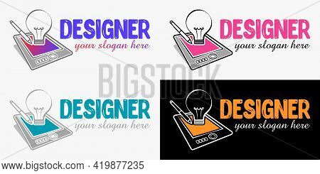 Vector Modern Design Style Logo Template For Graphic Designer Or Artist. Vector Graphic And Digital