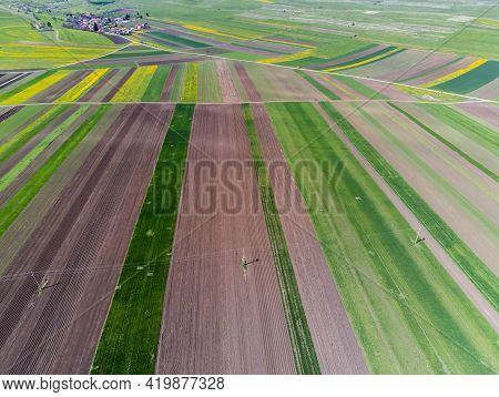 Aerial Drone View, Agricultural Field, Green And Yellow Parcels For Agricultural Background, Small H
