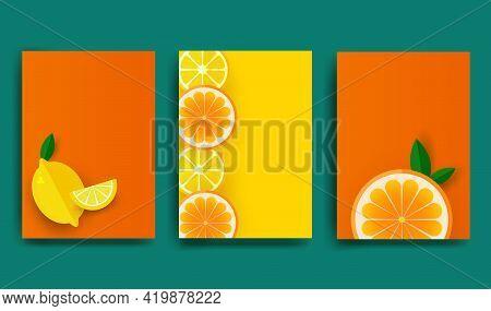 Orange Poster. Sliced Slices Of Orange And Lemon With Leaves. Fruit Pattern For Brochure, Layout Des