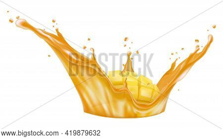 Mango Juice With Ripe Fruits. Sliced Mango Cubes And Juice Splash. Realistic 3d Vector Illustration.