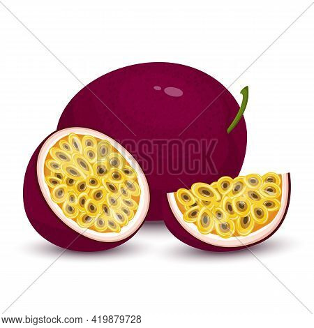 Passion Fruit. Whole Passion Fruit, Slices And A Half Of Maracuya Isolated On White Background.fresh