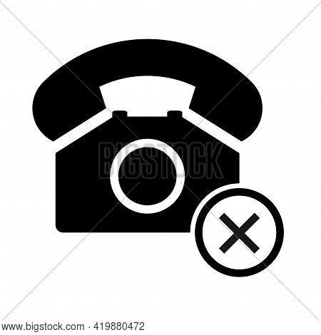 Old Phone Don Ts Flat Icon Isolated On White Background. Hotline Symbol. Telephone Vector Illustrati