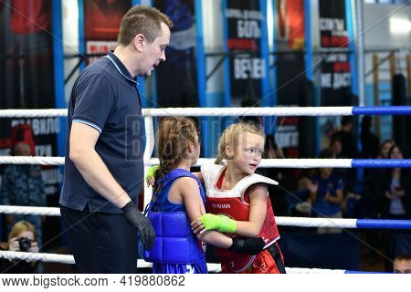 Orenburg, Russia - October 20, 2019: Girls Compete In Thai Boxing (muay Thai)