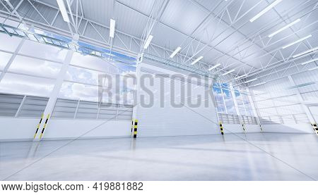 3d Rendering Of Hangar Or Industrial Building. Protection With Security Door Or Roller Shutter Or Ov