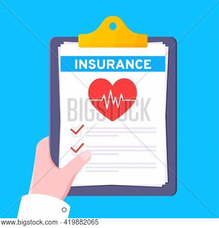 Clipboard With Medical Insurance Claim Form On It, Paper Sheets, Doctor Hand Flat Style Design Vecto