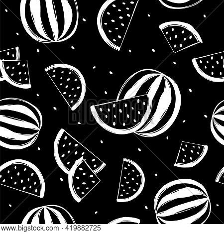 Seamless Vector Pattern With Hand Drawn Chalk Watermelons. White Slices Of Watermelons On A Blackboa