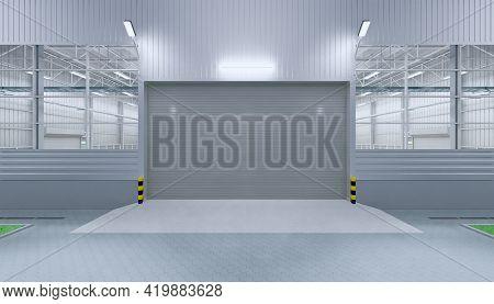 3d Rendering Of Roller Door Or Roller Shutter. Also Called Security Door Or Overhead Door. For Prote