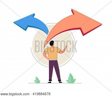 Choice Decision Making As Two Split Path Options To Choose From Tiny Person Concept. Business Or Lif