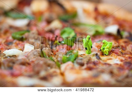 Group Of Scientists Inspecting Pizza.