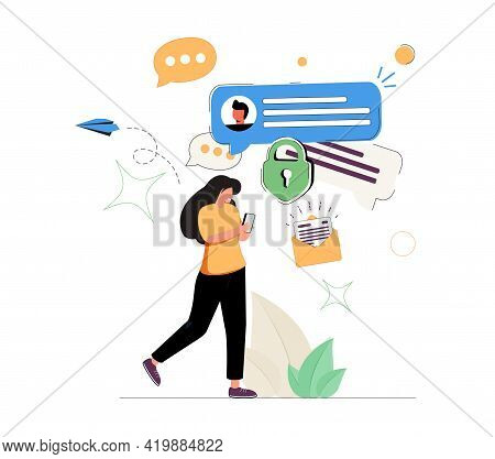 Woman With Smartphone Sending And Receiving Messages. Concept Of Mobile Application For Secure Insta