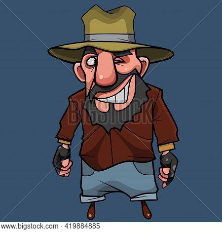 Cartoon Bearded Man Bandit In A Hat Looks Sideways And Winks Slyly