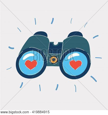 Vector Illustration Of Closeup Binoculars, Searching For Something Heart Sign On Lenses.