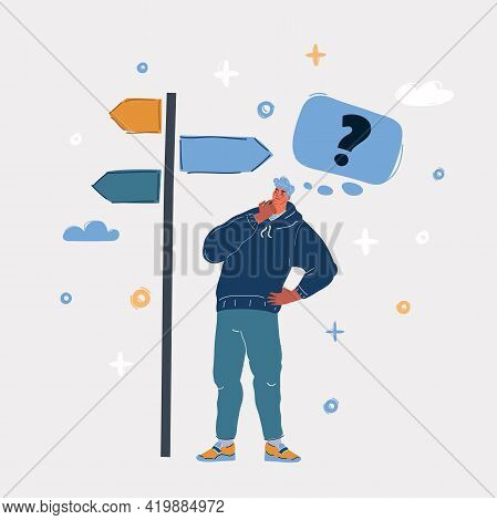 Vector Illustration Of Man Standing In Front Of A Roadsign With Question Mark In His Thoughts