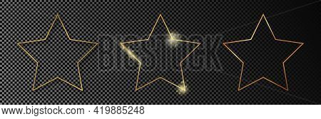Set Of Three Gold Glowing Star Shape Frames Isolated On Dark Transparent Background. Shiny Frame Wit