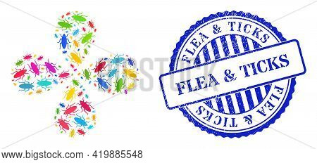 Bug Colorful Rotation Motion, And Blue Round Flea And Ticks Dirty Seal. Object Flower Organized From