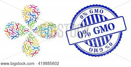 Chromosome Colored Rotation Flower With 4 Petals, And Blue Round 0 Percent Gmo Rubber Seal. Element