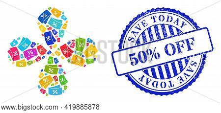Discount Coupones Bright Explosion Abstract Flower, And Blue Round Save Today 50 Percent Off Scratch