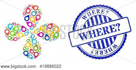 Map Pointer Bright Curl Flower With 4 Petals, And Blue Round Where Question. Rubber Stamp Imitation.
