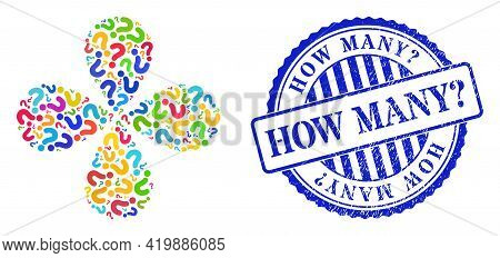 Question Mark Multi Colored Curl Flower Shape, And Blue Round How Many Question. Textured Watermark.