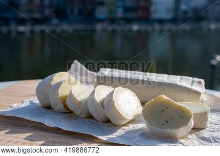Belgian Abbey Cheese Fagotin In Pieces With Jam Served Outdoor, Wallonia, Belgium