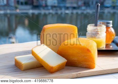 Cheese Collection, Belgian Abbey Cheeses Made With Brown Trappist Beer And Fine Herbs And View On Ma