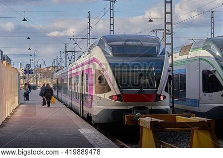 Helsinki, Finland - April 30, 2021: Train At Helsinki Railway Station.