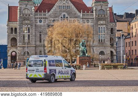 Helsinki, Finland - April 30, 2021: A Police Car At Helsinki Railway Station Square.