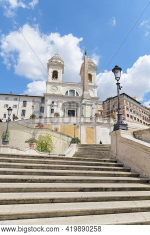 Roma, Italy - April, 13, 2021. Spanish Steps And Church Of Trinita Dei Monti In Rome Italy During Co
