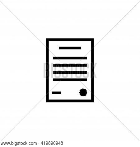 Certificate, Gratitude, Contract. Flat Vector Icon Illustration. Simple Black Symbol On White Backgr