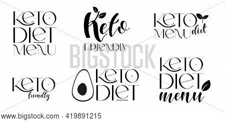Keto Friendly Diet Vector Design Elements. Set Of Badges.