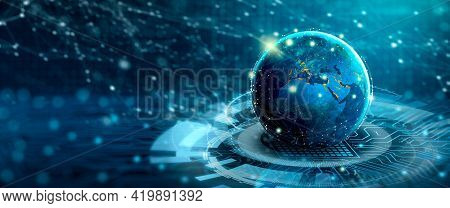 Global Social Network And Business Connection Concept. Digital World On The Converging Point Of Circ