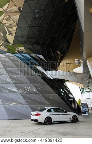 Bmw M5 Parking Under The Roof Of Bmw Welt, May 2021, Munich, Germany