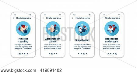 Mindful Spendings Onboarding Mobile App Screens. Thoughtful Shopping. Conscious Buying Steps Menu. S