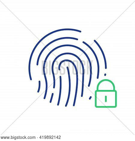 Fingerprint With Close Lock. Cyber Security, Identity Information, Network Protection. Fingerprint S