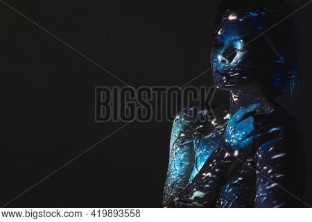 Night Loneliness. Art Portrait. Melancholy Depression. Sad Vulnerable Woman In Blue Rain Water Drops