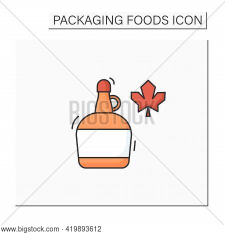 Maple Syrup Color Icon. Syrup In Glass Or Plastic Bottle. Protection, Tampering Resistance From Bact