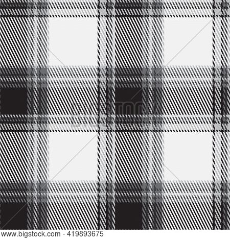 Black And White Plaid Pattern. Abstract Seamless Striped Wallpaper. Monochrome Modern Cage Texture.