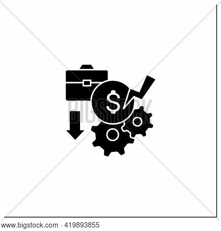 Pay Cuts Glyph Icon. Reducing Salary, Payment, Compensation, Budget Cutting. Unemployment Concept. F