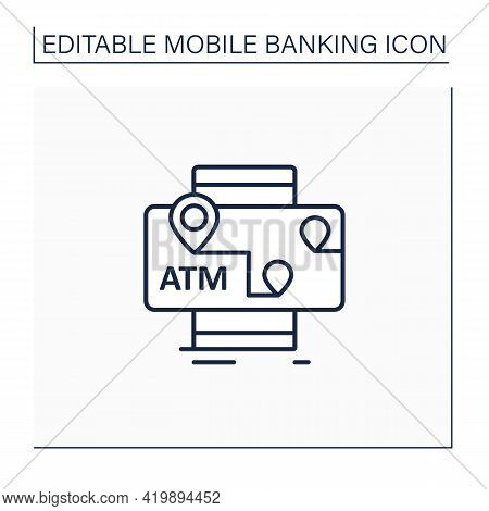 Atms Mobile Map Line Icon. Location Automated Teller Machine.marker With Atm Cashpoint Bank. Gps Loc