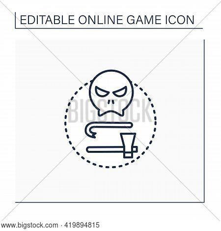 Survival Horror Games Line Icon. Hostile, Open-world Environments. Minimal Equipment. Run Away From