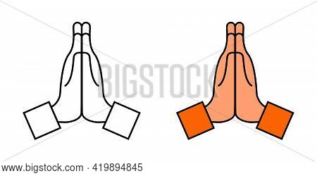 Hand With Pray. Icon Of Namaste. Emoji For Thank, Sorry, Please. Hand Of Prayer. Emoticon Of Hope In