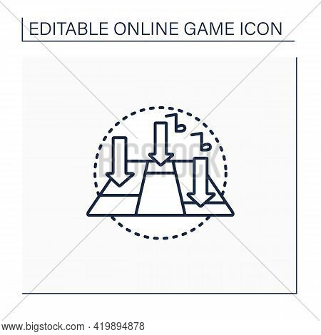 Rhythm Game Line Icon. Action Video Game. Focus On Dance And Music. Press Buttons, Look On Screen. O