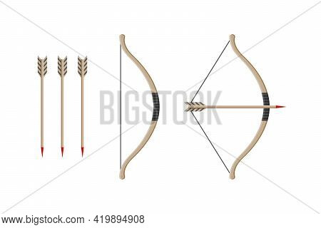 Bow With Arrow. Weapon Of Archery. Wooden Longbow With Arrows For Indian Archer. Cartoon Bow For Med