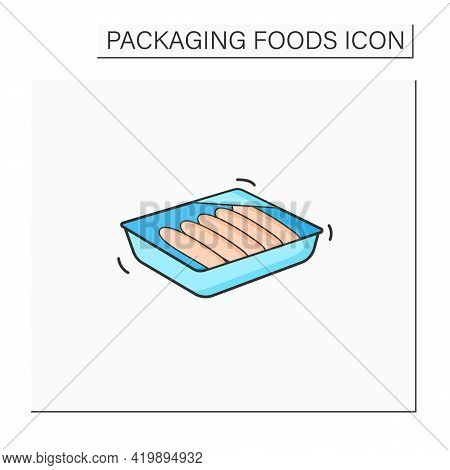 Sausages Color Icon. Meal In Plastic Box. Portion Control, Protection, Tampering Resistance From Bac