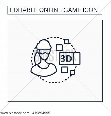 3d Gameplay Line Icon. Gaming Using Virtual Reality Goggles. Smart Technology. Being Real Time Game
