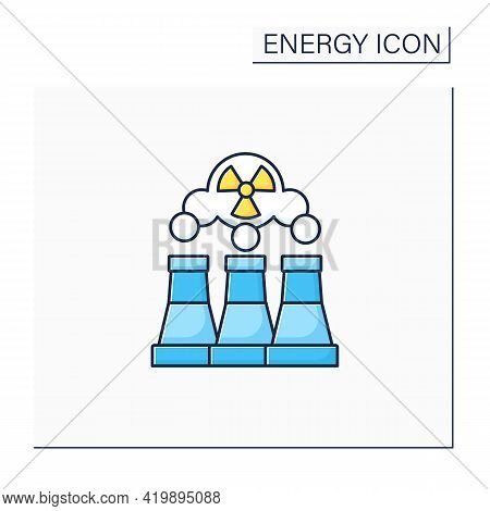 Fusion Reactor Color Icon. Electrical Power From Nuclear Fusion Power. Electricity Station Concept.