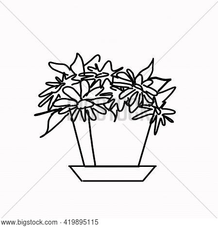 A Flower In A Pot, A Plant In The Interior. Part Of A Set Of Furniture And Interior Accessories. Iso