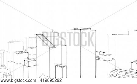 Technical Project Of The City .drawing Of Skyscrapers, Buildings.city Skyscrapers .