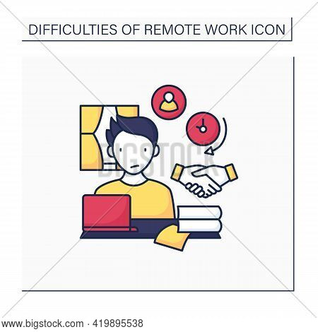 Remote Work Color Icon. Difficult To Build Trust Relationships With Coworkers. Need Real Time Conver